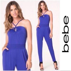 Bebe Cobalt Blue Halter Jumpsuit 💙